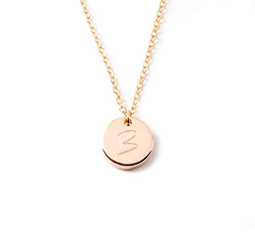 Necklaces Customized Initial Disc Necklace - Dainty Personalized Thick Gold Silver Rose Gold Circle Pendant Plate Delicate Initial Disc Charms Necklace Diamond Engraving Best Graduation Day gift