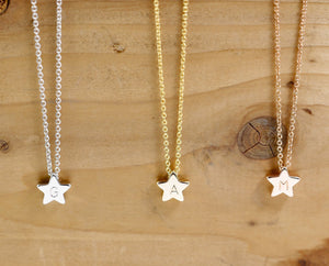 Necklaces Star Pendant Necklace - Hand stamped Personalized dainty lnitial Charms Star Necklace bridesmaid Wedding Graduation Best Graduation Day gift