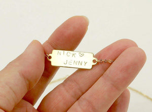16K Gold Bar Necklace - Dainty Hand-stamped Letter Personalized Bar Plate
