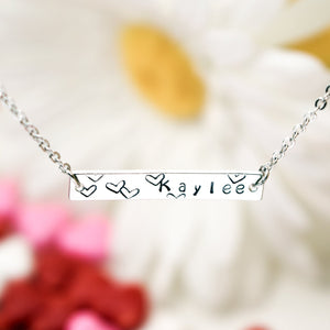 A Your name bar necklace Personalized 100% Handmade customized Plate Delicate Initial Hand Stamp Charms Necklace