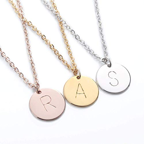 Personalized Coin Disc Initial Necklace - Dainty Personalized Gold Silver Rose Gold Plated Disc Delicate Initial Hand Stamp Necklace Best Graduation Day gift