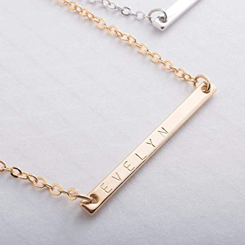 Customized Bar Necklace - Delicate 16K Gold Rose Gold Silver Dainty Handstamped Personalized Necklace Bar Plate Initial Charms Hand Stamp Bridesmaid Best Graduation gift