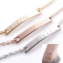Load image into Gallery viewer, Custom Anklet 16K Gold Silver Rose Gold -Plated Bar anklet - Delicate initial name Anklet