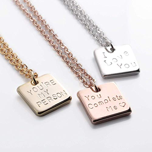 A Square Message necklace - Dainty Bar Handstamped or Diamond Engraving Personalized Plate Delicate Initial Charms Necklace