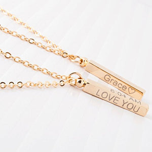 Personalized Baby-Children-Teen Dainty Necklace 16K Gold Plated Birthday Child Safety ID Birth Information First day of school Customized Baby Gift