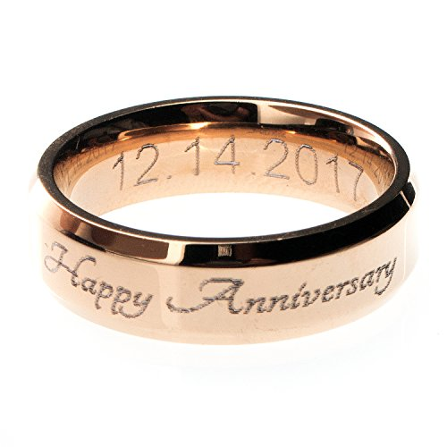 Customizable Your Name Ring Stainless Steel Beveled Edge Flat Band Ring Best Graduation Day Gift
