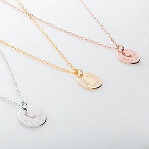 Children Contact Phone Symbol NecklaceID 16K Gold Silver Rosegold Plated Disk Name & Phone Number Best Graduation Day gift