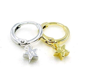 16K Gold Plate and 16K Silver plated Star Earrings - Dainty Silver Plated Hand stamped Delicate Initial Charms Personalized Star Earring Hand Stamp Best Graduation Day gift