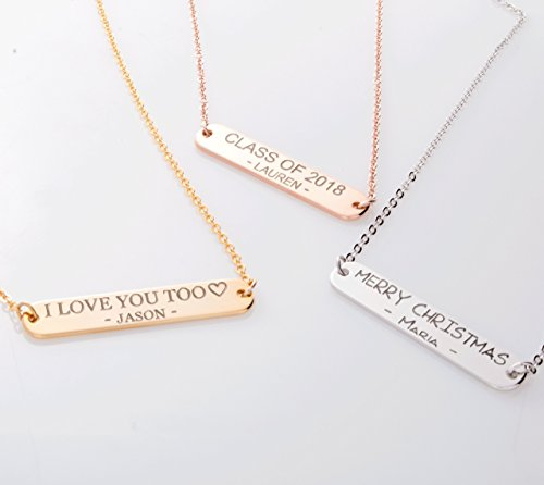 Custom Message Bar Necklace 16k Gold Silver RoseGold - Plated Round Edge Your name necklace Wedding Family Christmas Anniversary Best Graduation Day gift