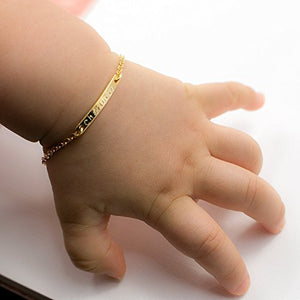 Personalized Baby Name Bar id Bracelet Baby Gift 16k Gold Plated Dainty Hand Stamp