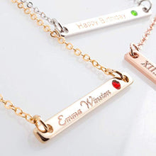 Load image into Gallery viewer, A Birth stone Your name bar Necklace / 16K Gold Silver Rose gold