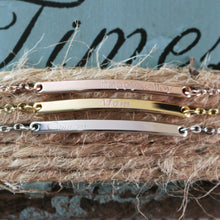 Load image into Gallery viewer, Pretty Your Name Bar Bracelet / Dainty Personalized Plate