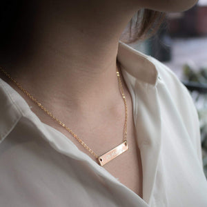 Necklaces Personalized 16K Rose Gold Bar Necklace - Dainty Delicate Initial Charms Handwritten stamped