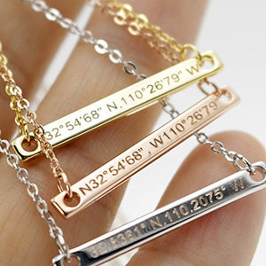 Necklace coordinate bar Customized Diamond Engraving 16k Gold Plated GPS Personalized bridesmaid Wedding Graduation Birthday Anniversary Best Graduation Day gift