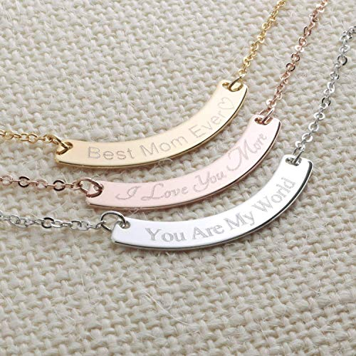 Curved Your Name Necklace Diamond Engraving 16k Gold Silver Rose Gold -Plated Dainty GPS Coordinate Personalized Initial Bridesmaid Gift and Wedding Best Graduation Day gift