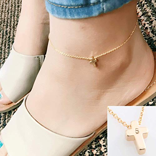 16K Gold Dainty Cross Anklet- Customized initial Hand-Stamped