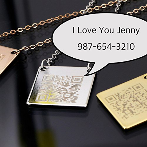 QR Secret Message Necklace Engraving QR CODE Plate Personalized square 16k Gold (Silver Rose Gold) Plated Delicate Initial charms necklace Best Graduation Day gift