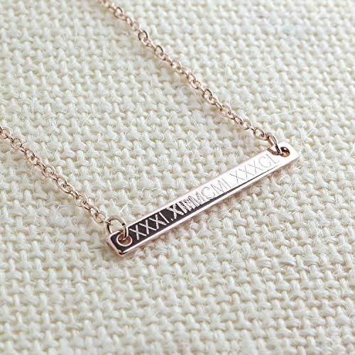 Roman Numeral Bar Necklace - Name Plate Personalized Bar 16k Gold Silver Rose Gold Delicate Initial charms Machine Engraving necklace Best Graduation Day gift
