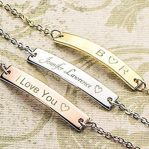Customizable Your Name Bar Necklace Gift - Custom Jewelry Plated in 16k Gold Silver Rose Gold