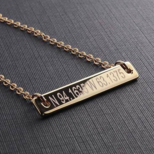 Absolute rate Coordinate bar necklace - Dainty Bar Diamond Engraving Personalized Necklace