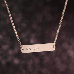 Custom Name Bar Necklace - Dainty Bar Name Plate Gold Silver Rose Gold Plated Handstamped Letter
