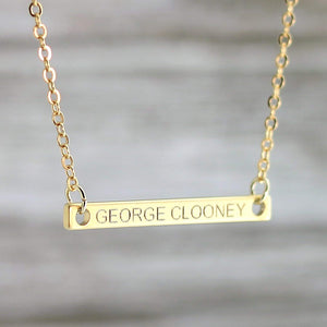 Custom Name bar necklace Matt 16K Gold Silver Plated Dainty Personalized Plate Pendant Delicate Charms Computer Engraving Bridesmaid Wedding Best Graduation Day gift