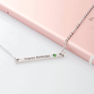 A Birth stone Your name bar Necklace / 16K Gold Silver Rose gold