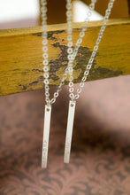Load image into Gallery viewer, Necklaces Vertical Matt 16K Silver Bar Necklace