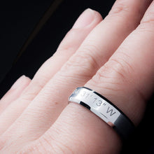Load image into Gallery viewer, A Coordinate Personalized Ring Stainless Steel Beveled Edge Flat Band Ring Silver