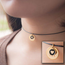 Load image into Gallery viewer, Choker Super cute Disc Initial with Heart Coin Necklace - Dainty Personalized Gold Silver Rose Gold -Plated