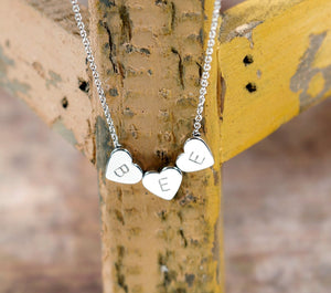 A Tiny Heart Initial Necklace - Handstamped Delicate Initial Personalized Heart