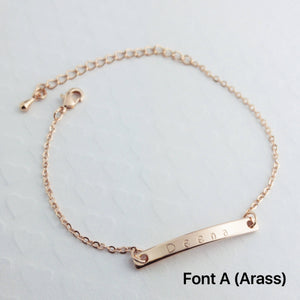 Customized Name Bar bracelet/Hand stamped Gold Silver plated/Gift for Dainty Birthday Bridesmaids Wedding Mothers day Mother Daughter