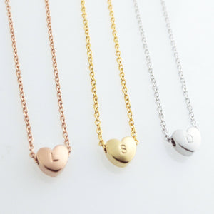 Hand Stamped Cute Heart Necklace 16k Gold Rose Gold plated