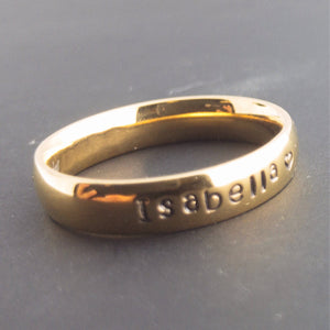 Personalized Name Ring Hand stamped Ink Filled Gold Silver Plated