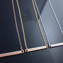 Load image into Gallery viewer, Personalized Coordinate Bar Necklace Latitude engraving 16k Gold Rose Gold Plated/gifts for Dainty Bridesmaid Mothers day Mother Daughter