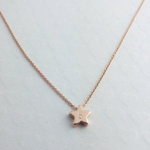 Hand stamped Customized Cute Star Necklace/Gold Silver Rose Gold/Personalized Charm