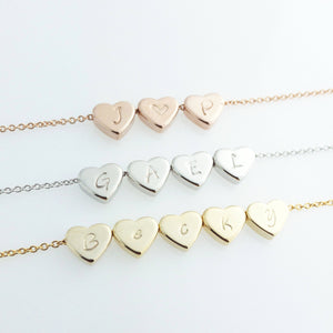 Hearts Initial Necklace Hand stamped 16k Gold Plated Dainty Heart Charm/gifts for Girl Wedding Bridesmaids Mothers day Mother Daughter mom
