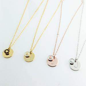 Initial charm with heart necklace