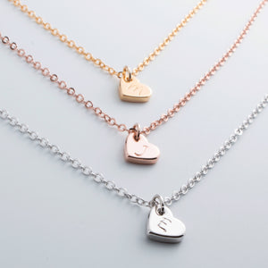 Hand stamped Customized Lovely Initial Heart Necklace/16k Gold Plated/Gifts for her Birthday Bridesmaids Wedding Mothers day Mother Daughter