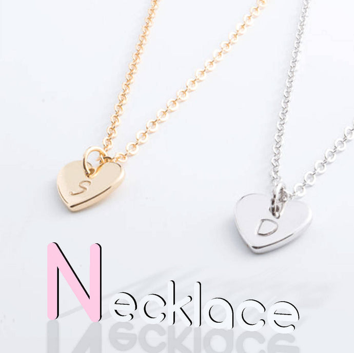 Hand stamped Personalized Lovely Dainty Initial Heart Necklace/16k Gold Plated/Gifts for Her Wedding Bridesmaids Mothers day Mother Daughter