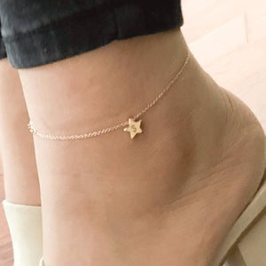 Hand Stamped Initial Cute Star charm Anklet/Gold Silver Rose Gold Plated/Gifts for Her Girl Birthday Bridesmaids Mothers day Mother Daughter