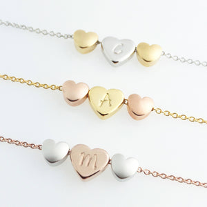 Hand Stamped lovely Triple Heart charms initial Necklace/16k Gold Plated/Gift for Her Girl Wedding Bridesmaids Mothers day Mother Daughter