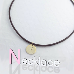 Personalized Leather Disc Initial Necklace/Gold White Gold Plated/Black Brown Leather Chain/Gift for Bridesmaids Mothers day Mother Daughter