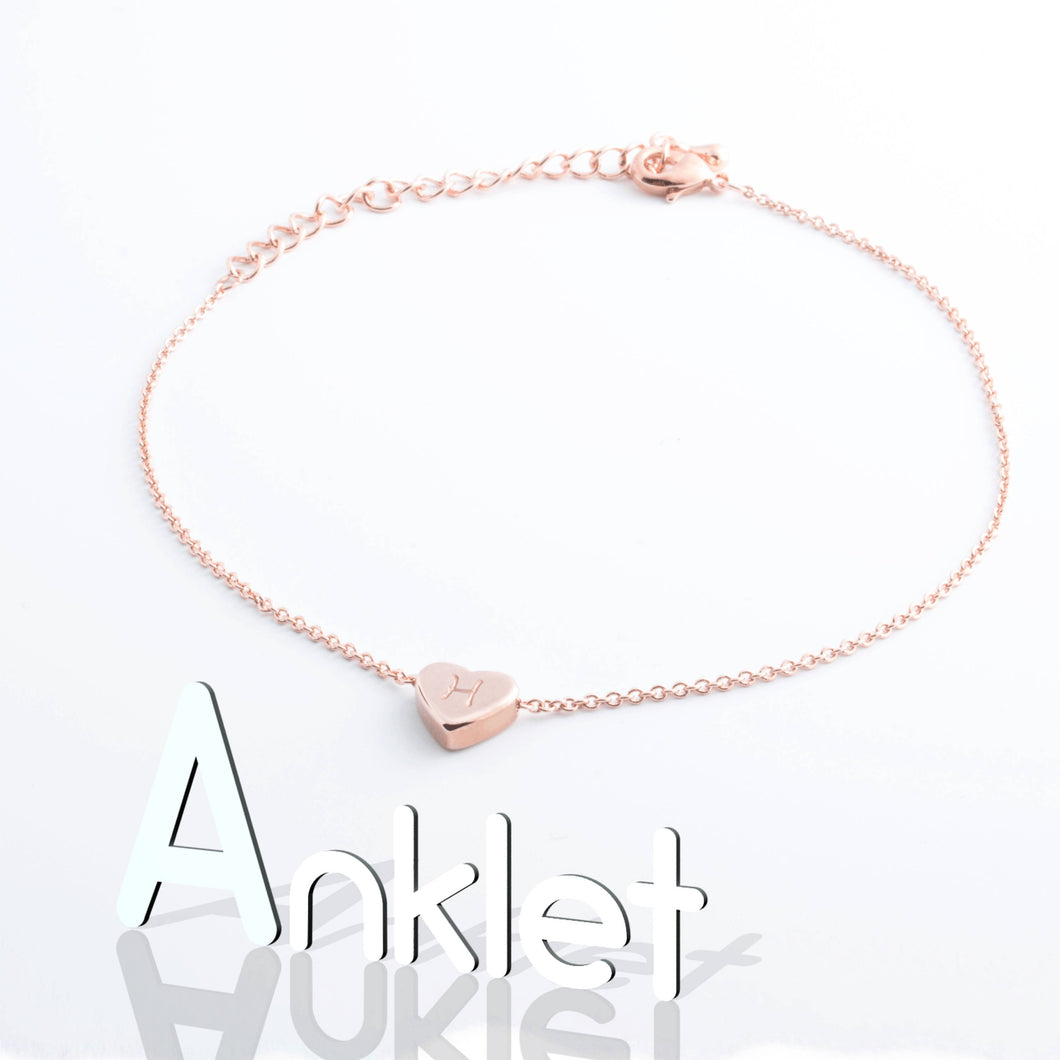 Heart Customize Anklet Personalize Hand Stamped 16k Gold Plated Dainty Heart Charm Bridesmaids Gifts for Mothers day Mother Daughter mom