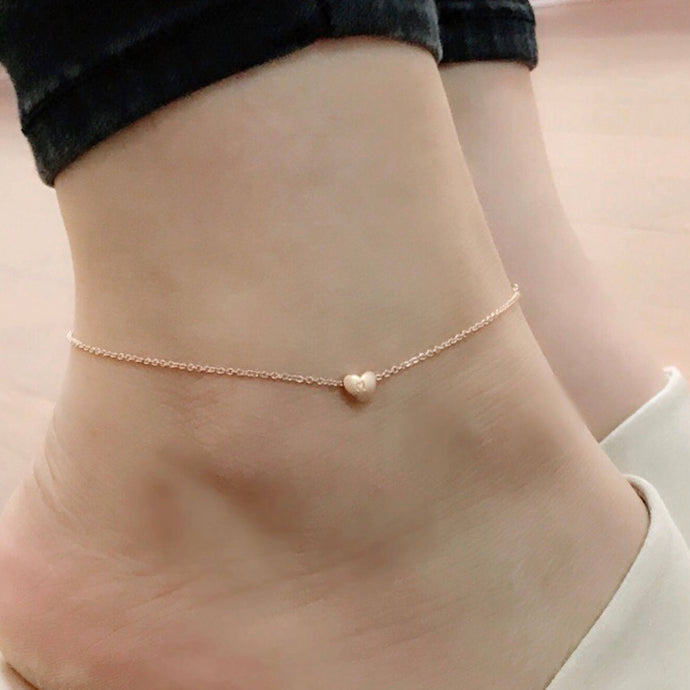 Cute heart Initial Anklet Hand Stamped Personalize Gold Plated