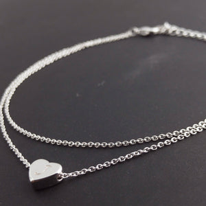 Double Layered Heart Initial Anklet