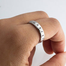 Load image into Gallery viewer, Personalized Name Ring Hand stamped Ink Filled Gold Silver Plated