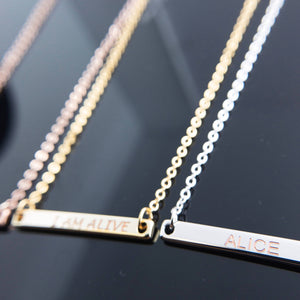 Personalized Your Name Bar Necklace/16k Gold Plated/Gift for Her Birthday Bridesmaids Customized Anniversary Mothers day Mother Daughter Mom