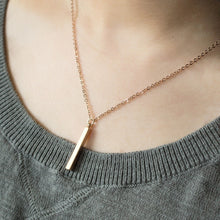 Load image into Gallery viewer, Hand Stamped Vertical Name bar Initial Necklace/Gold Silver Rose Gold Plated/Dainty 4 side bar/Gifts for Wedding Mothers day Mother Daughter