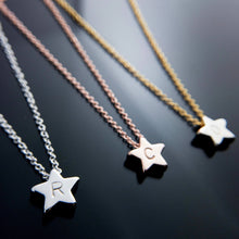 Load image into Gallery viewer, Hand stamped Customized Cute Star Necklace/Gold Silver Rose Gold/Personalized Charm